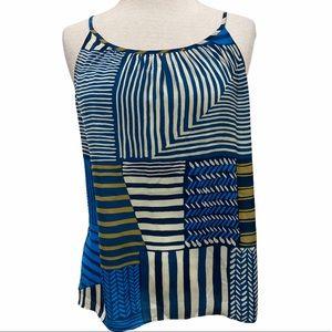 LOFT Blue Stripes Patchwork Top w/Spaghetti Straps